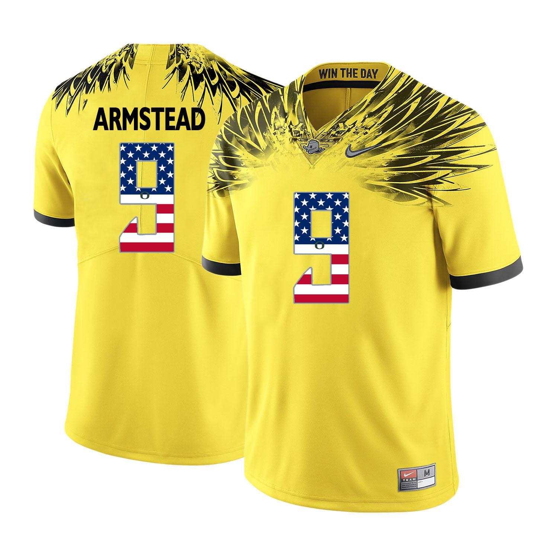 Oregon Ducks 9 Arik Armstead Yellow USA Flag College Football Jersey