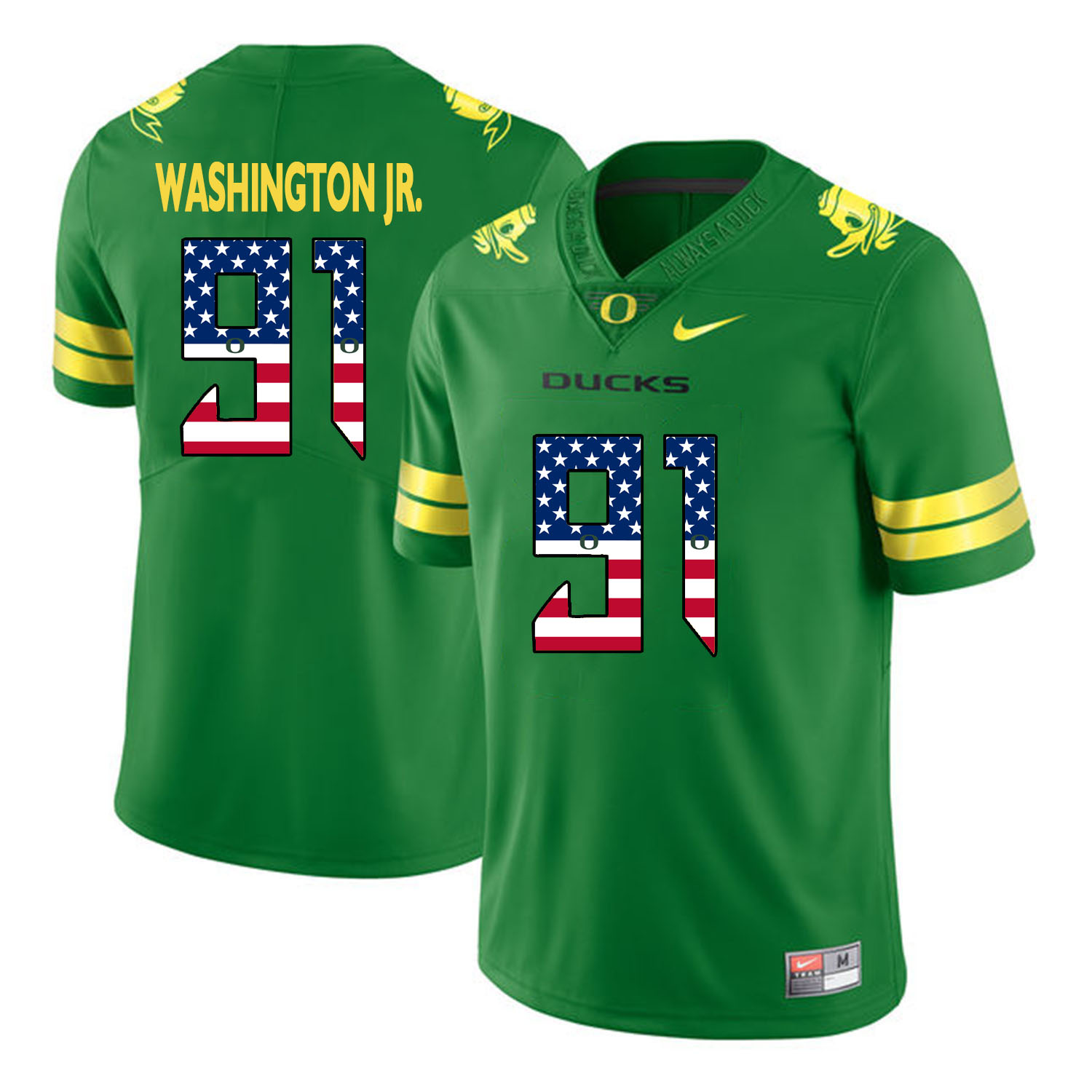 Oregon Ducks 91 Tony Washington Jr. Apple Green USA Flag College Football Jersey