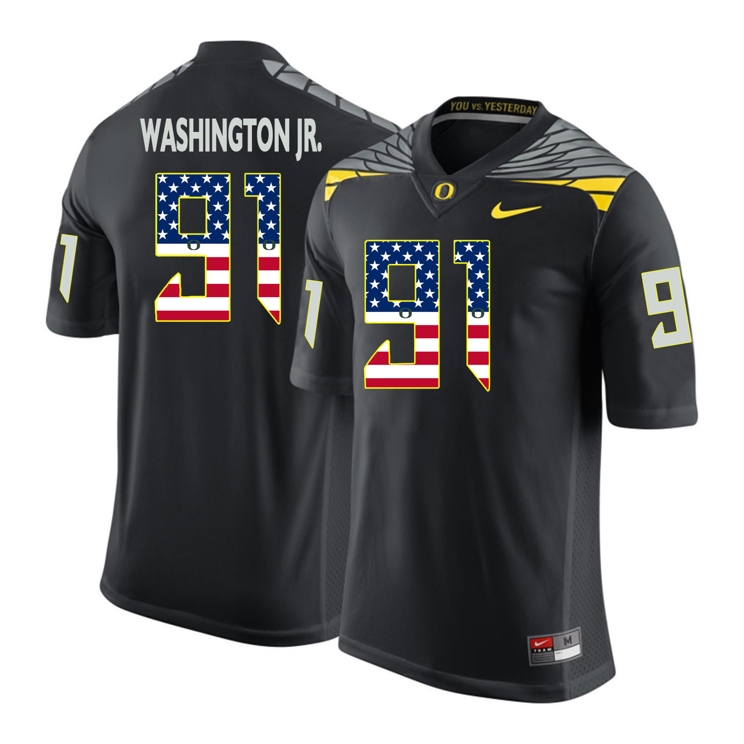 Oregon Ducks 91 Tony Washington Jr. Black USA Flag College Football Jersey