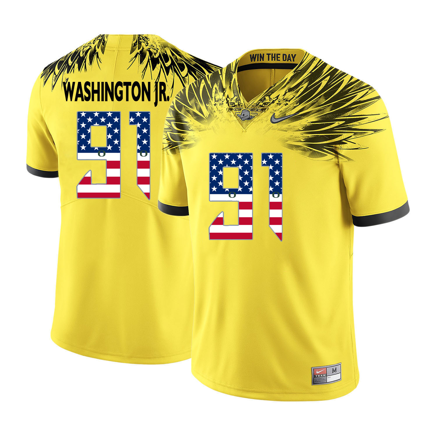 Oregon Ducks 91 Tony Washington Jr. Yellow USA Flag College Football Jersey
