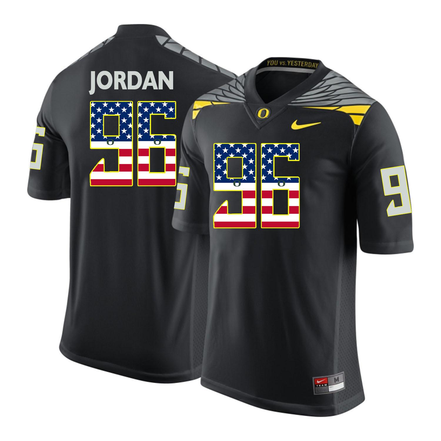 Oregon Ducks 96 Dion Jordan Black USA Flag College Football Jersey