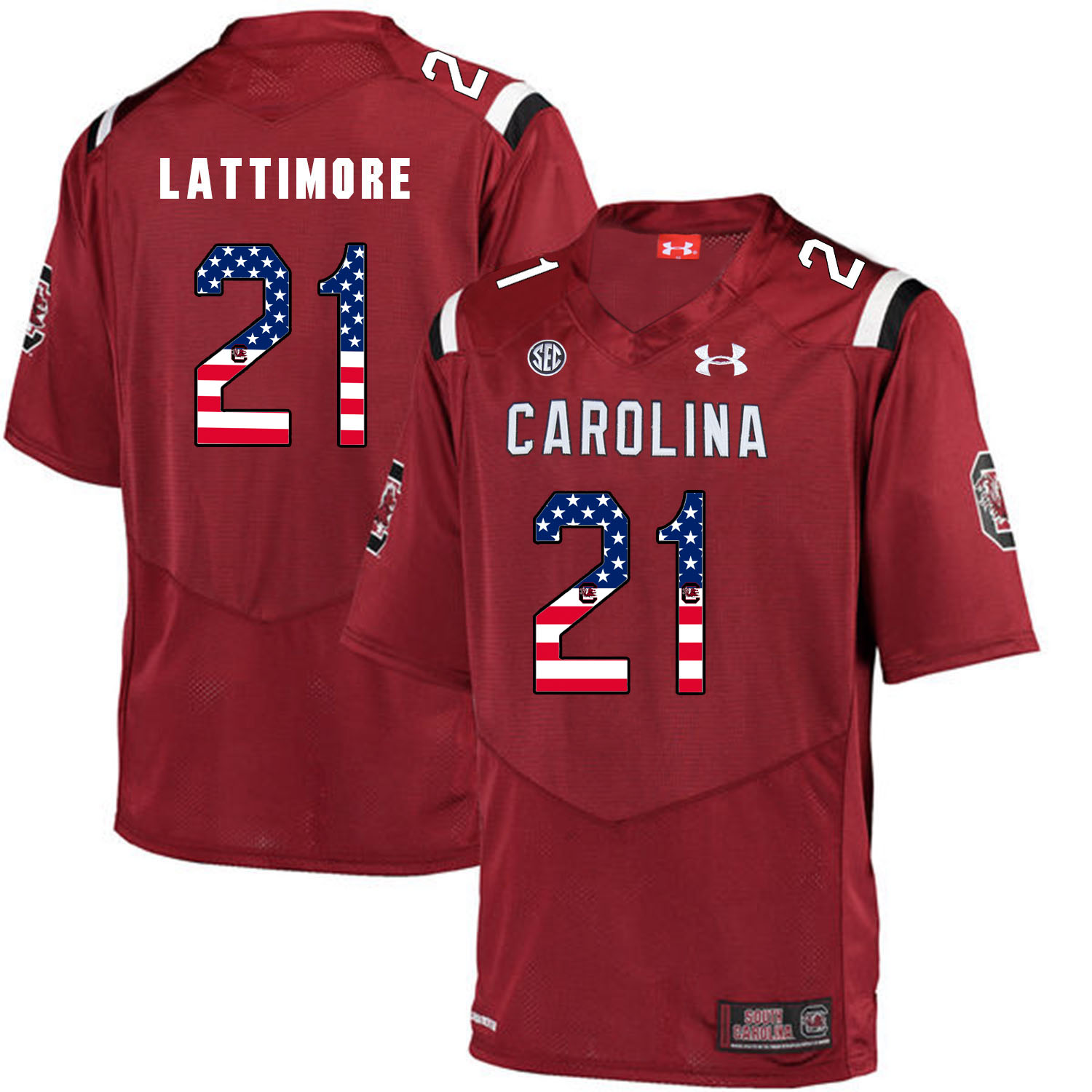 South Carolina Gamecocks 21 Marcus Lattimore Red USA Flag College Football Jersey