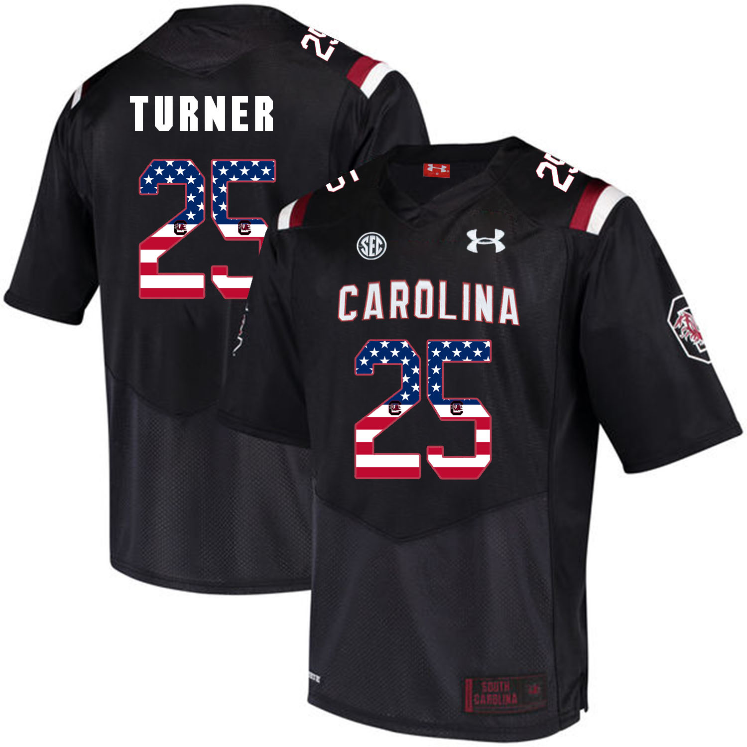 South Carolina Gamecocks 25 A.J. Turner Black USA Flag College Football Jersey