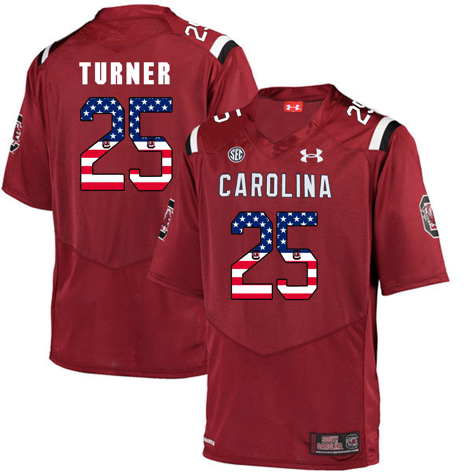 South Carolina Gamecocks 25 A.J. Turner Red USA Flag College Football Jersey