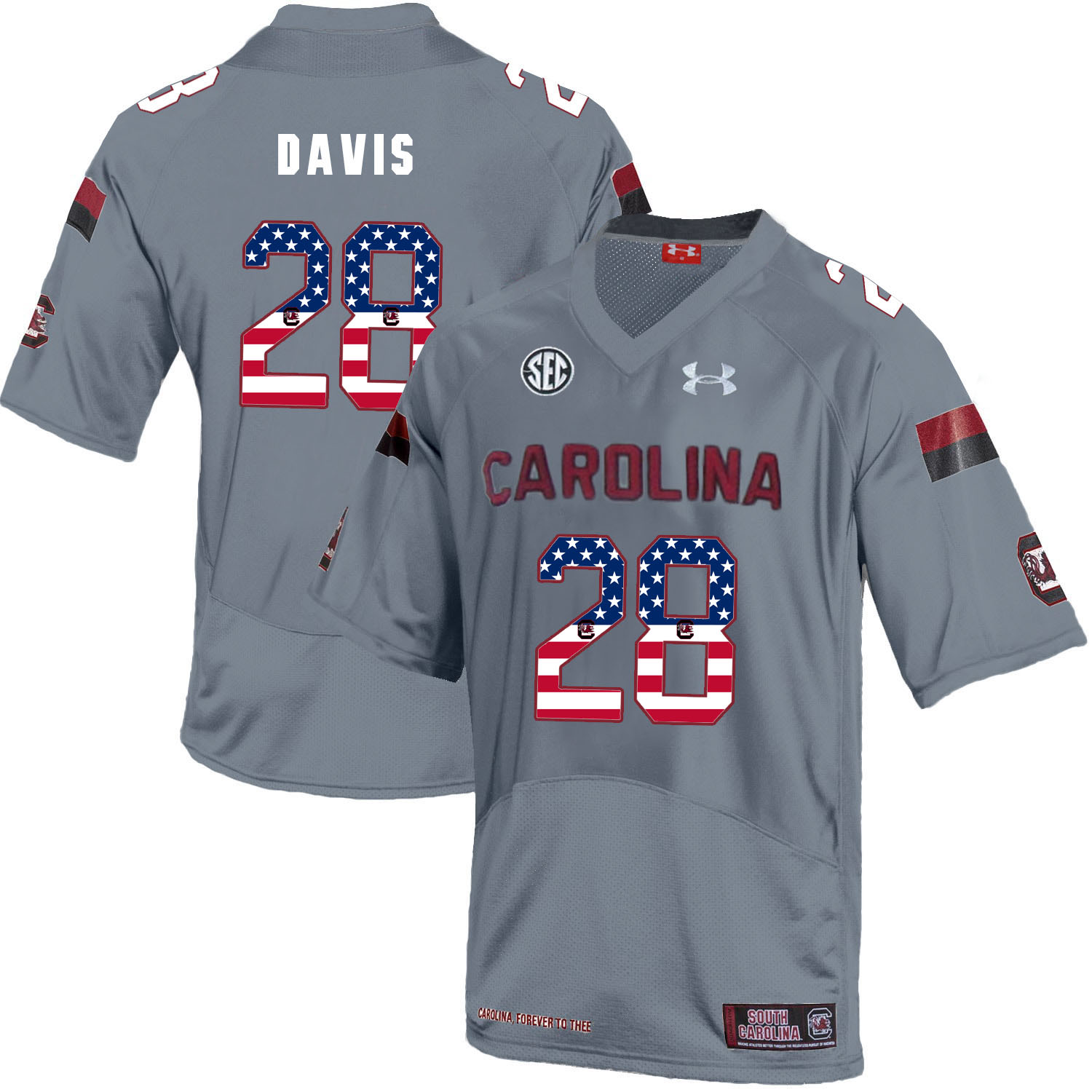 South Carolina Gamecocks 28 Mike Davis Gray USA Flag College Football Jersey
