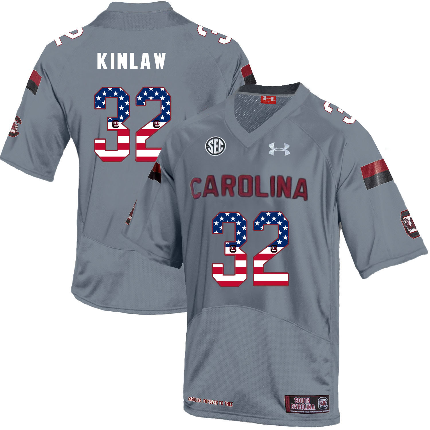South Carolina Gamecocks 32 Caleb Kinlaw Gray USA Flag College Football Jersey