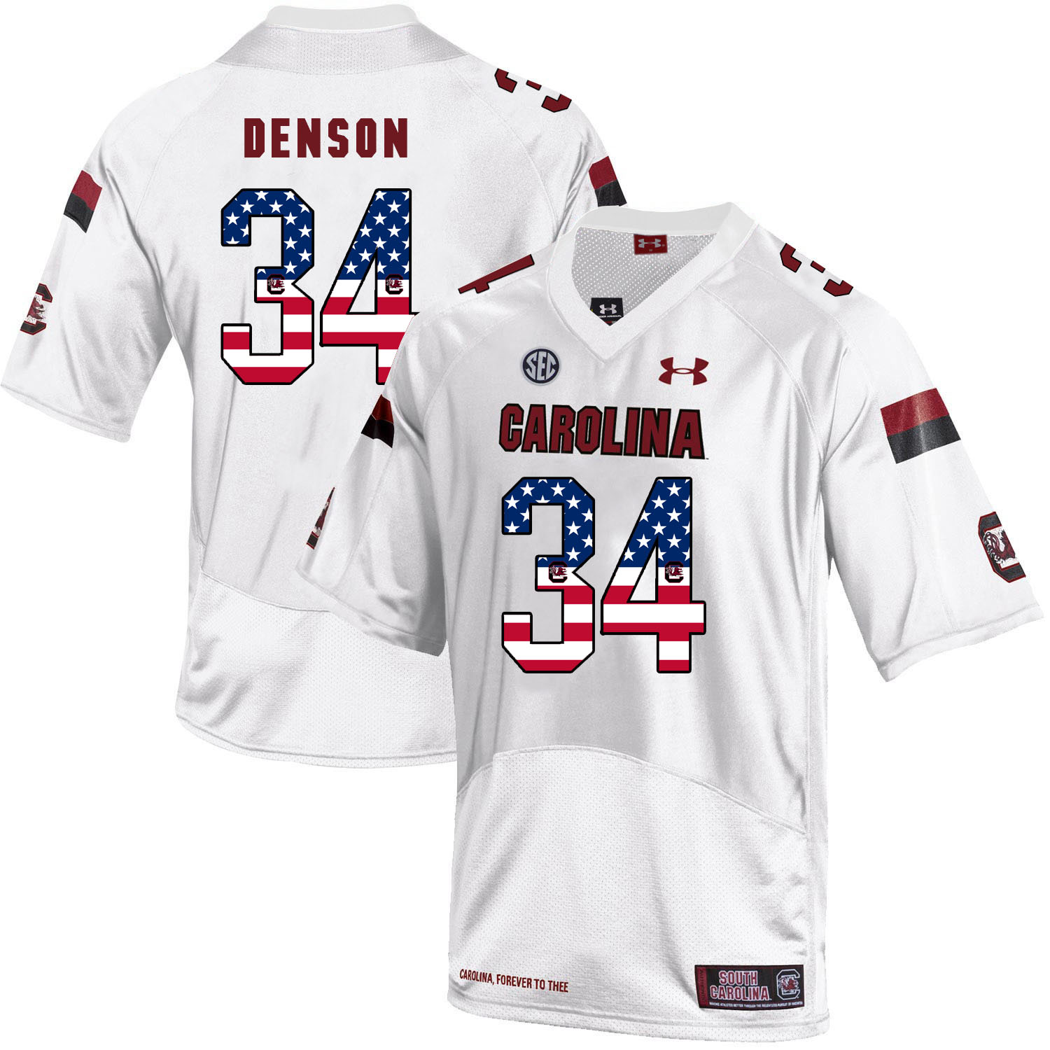 South Carolina Gamecocks 34 Mon Denson White USA Flag College Football Jersey