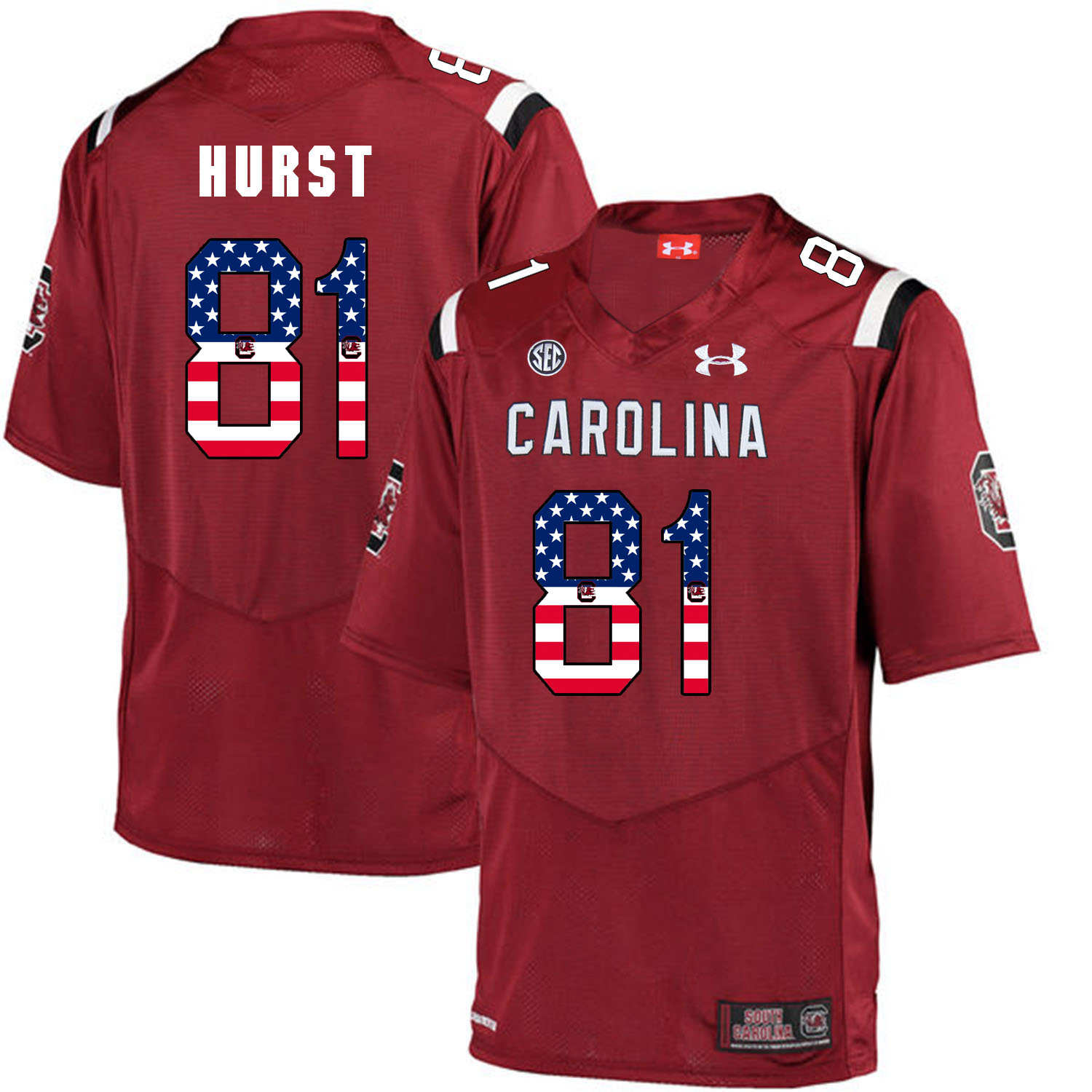 South Carolina Gamecocks 81 Hayden Hurst Red USA Flag College Football Jersey