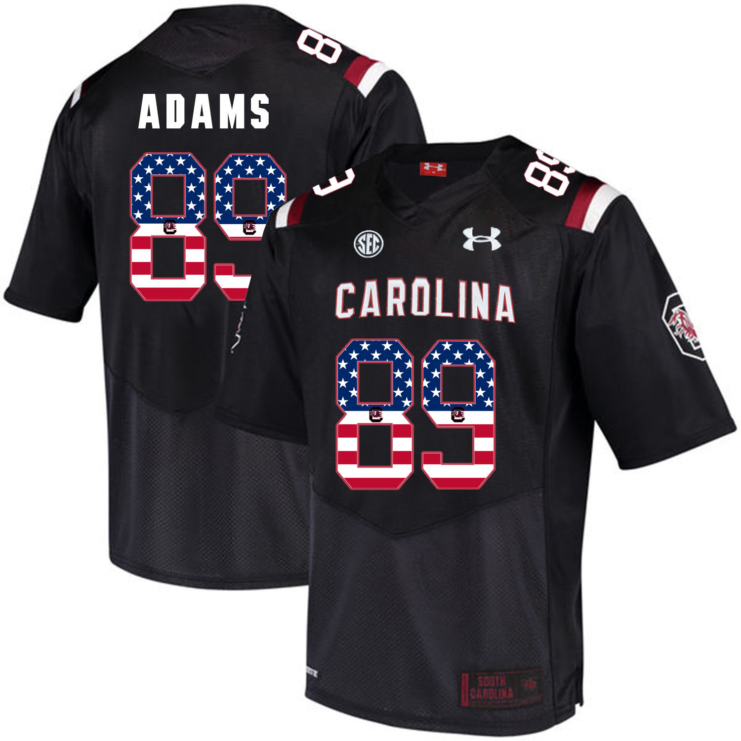South Carolina Gamecocks 89 Jerell Adams Black USA Flag College Football Jersey