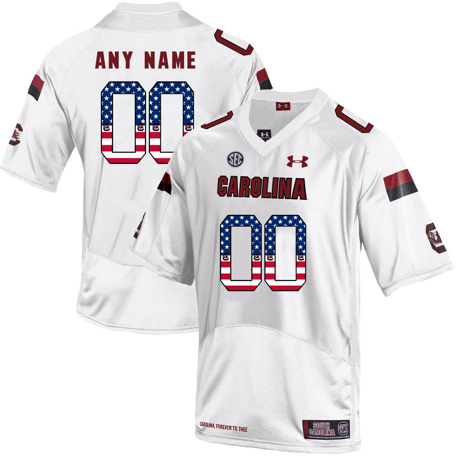 South Carolina Gamecocks White Customized USA Flag College Football Jersey