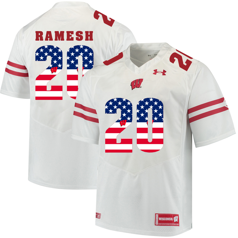 Wisconsin Badgers 20 Austin Ramesh White USA Flag College Football Jersey