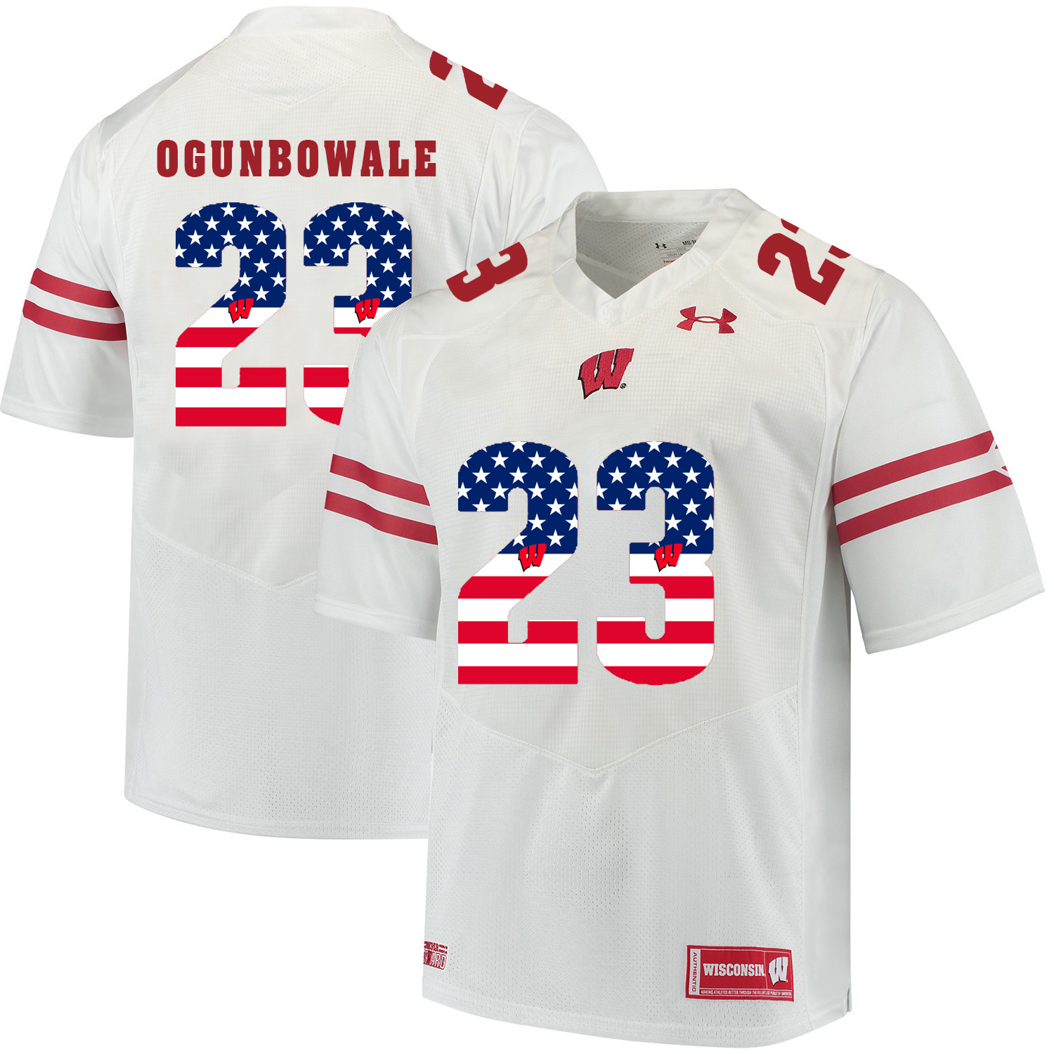 Wisconsin Badgers 23 Dare Ogunbowale White USA Flag College Football Jersey