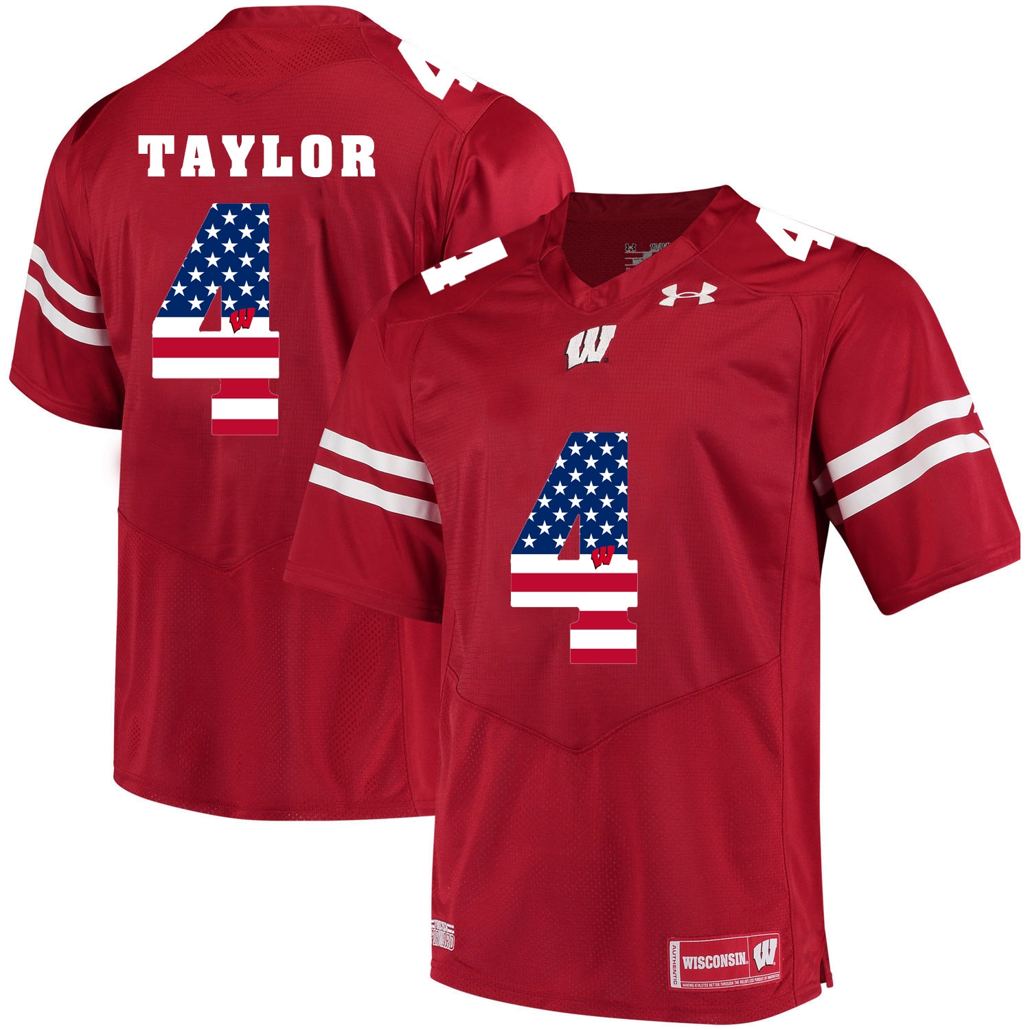 Wisconsin Badgers 4 A.J. Taylor Red USA Flag College Football Jersey