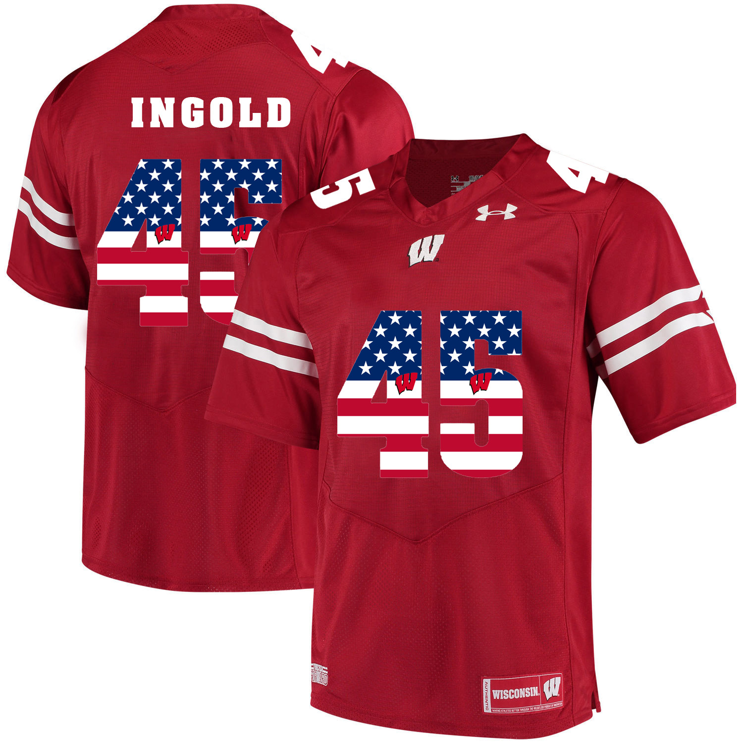 Wisconsin Badgers 45 Alec Ingold Red USA Flag College Football Jersey