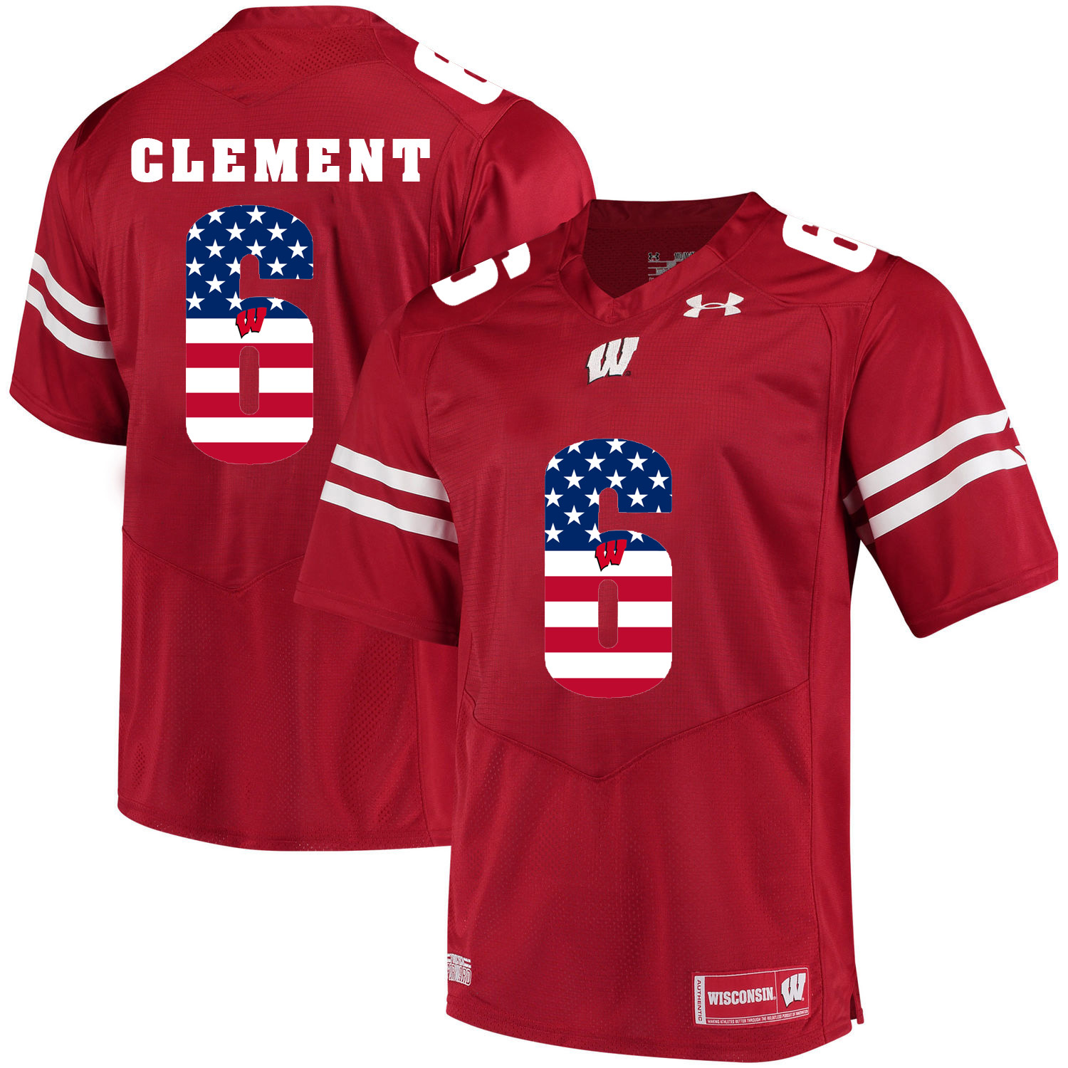 Wisconsin Badgers 6 Corey Clement Red USA Flag College Football Jersey