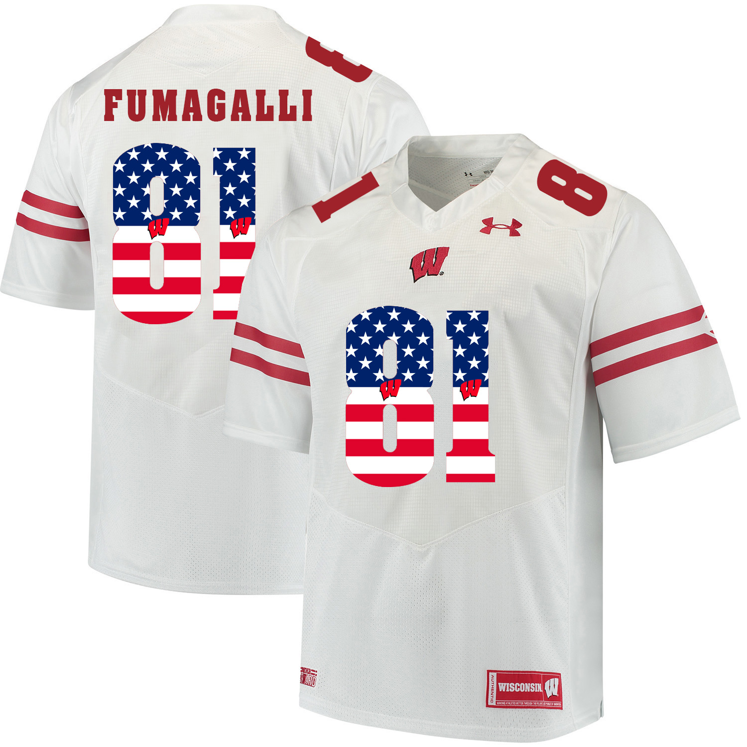 Wisconsin Badgers 81 Troy Fumagalli White USA Flag College Football Jersey