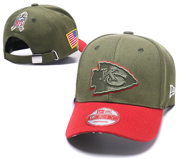Chiefs Team Logo Olive Peaked Adjustable Hat SG