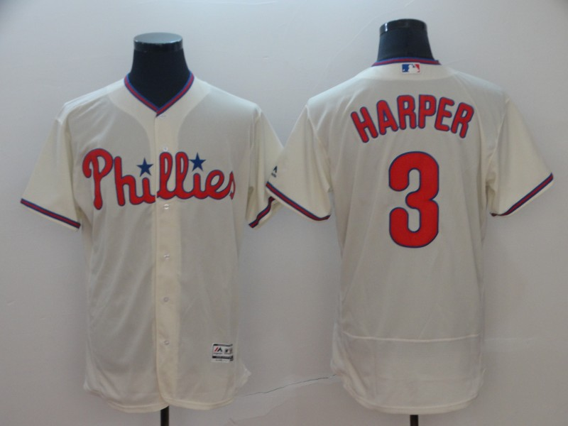 Phillies 3 Bryce Harper Cream Flexbase Jersey