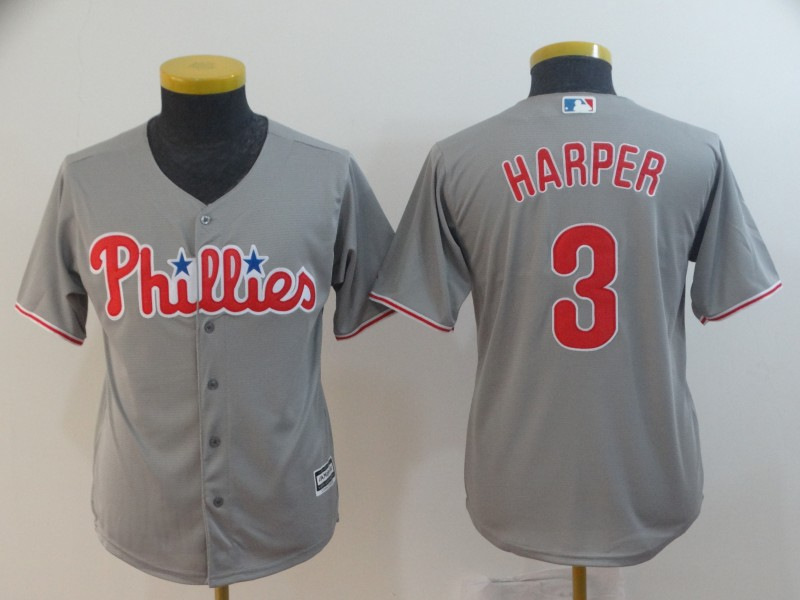 Phillies 3 Bryce Harper Gray Youth Cool Base Jersey
