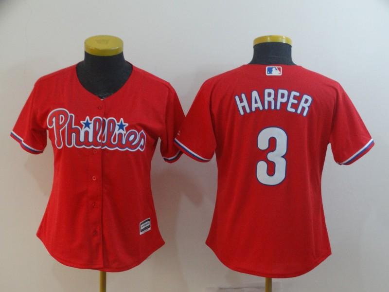 Phillies 3 Bryce Harper Scarlet Women Cool Base Jersey