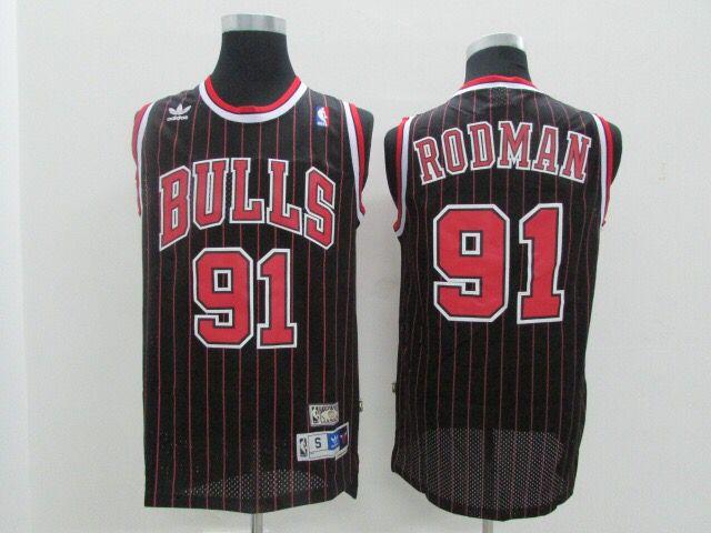 Bulls 91 Dennis Rodman Black Mesh Hardwood Classics Jersey