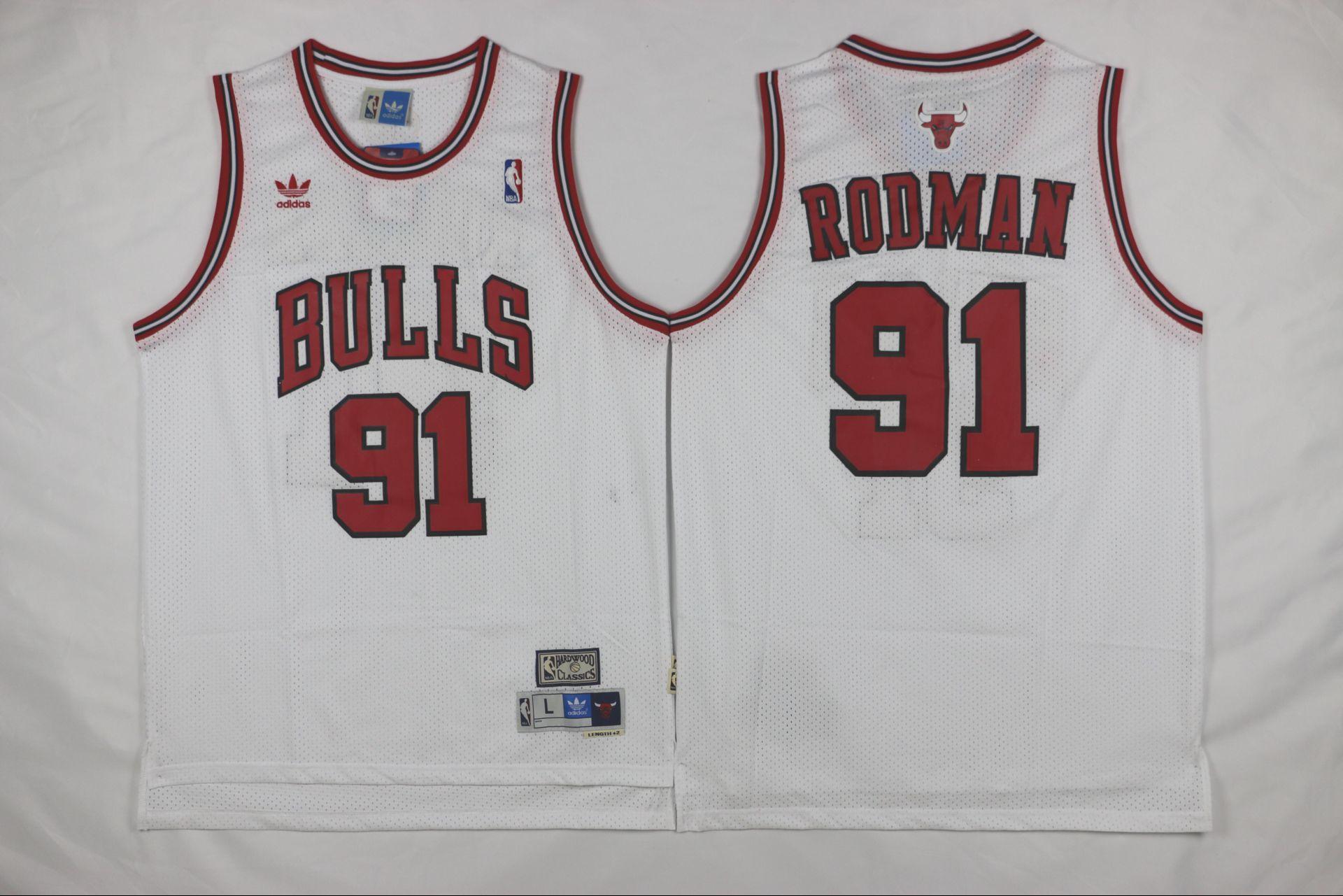 Bulls 91 Dennis Rodman White Mesh Hardwood Classics Jersey