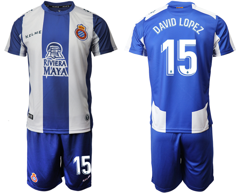 2019-20 RCD Espanyol 15 DAVID LOPEZ Home Soccer Jersey