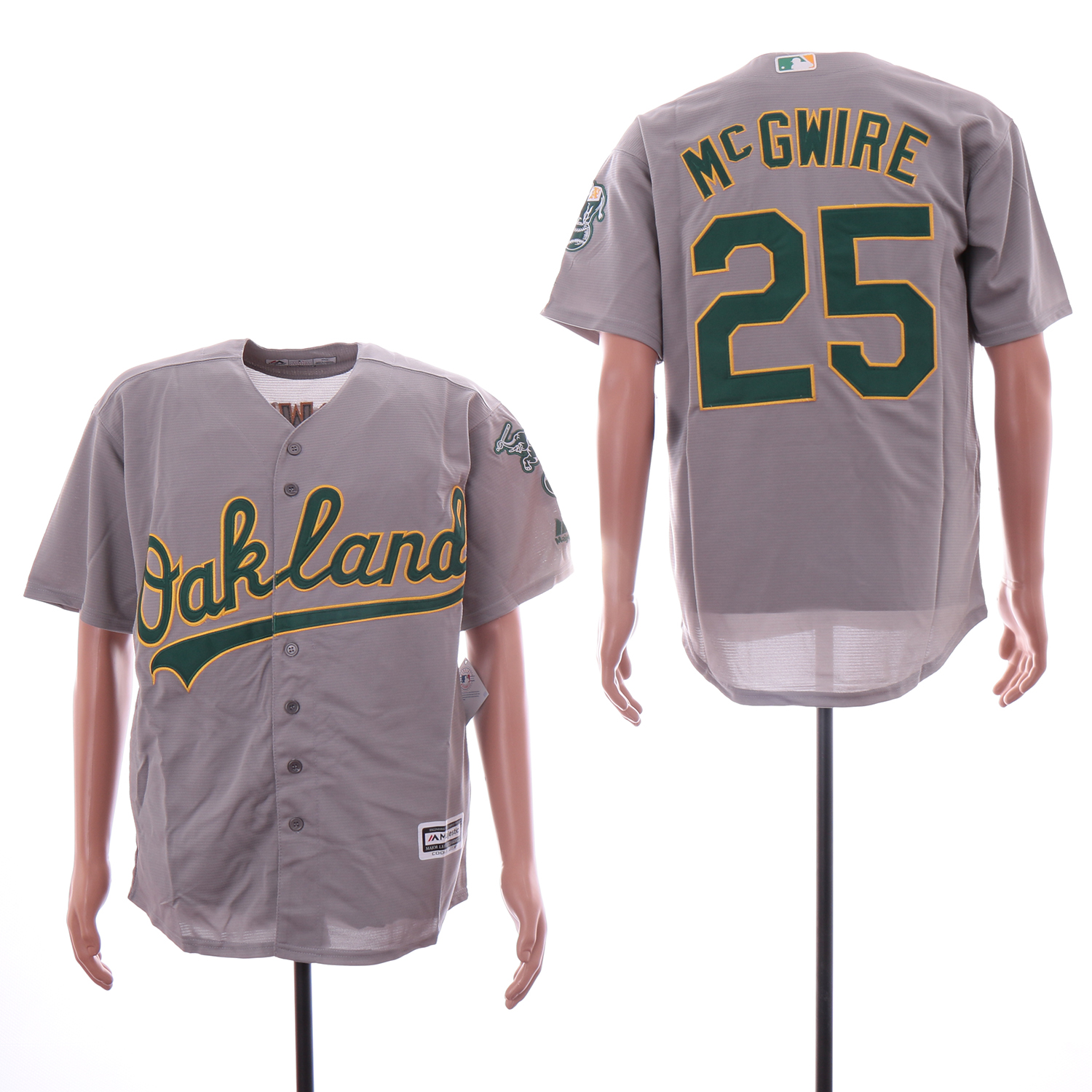 Athletics 25 Mark McGwire Gray Cool Base Jersey