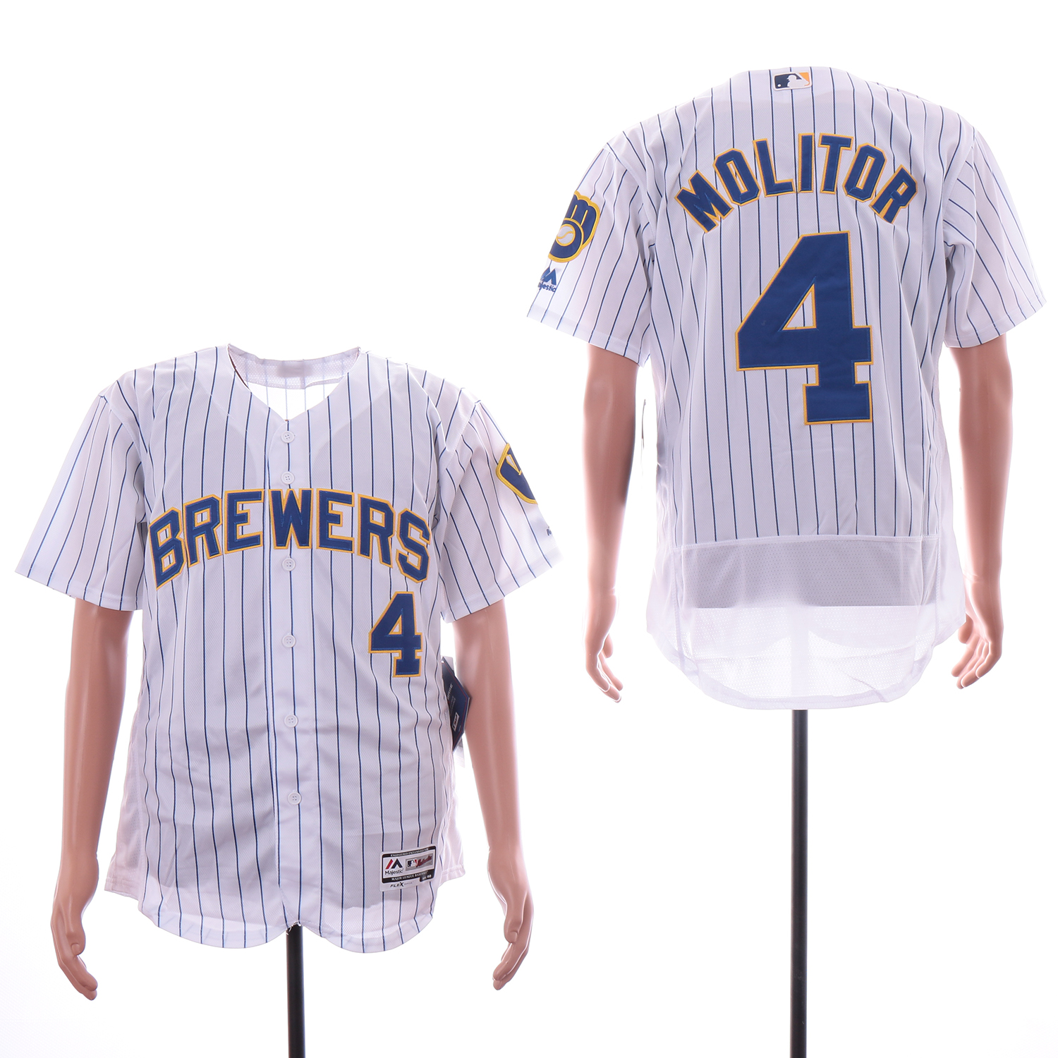 Brewers 4 Paul Molitor Royal White Flexbase Jersey