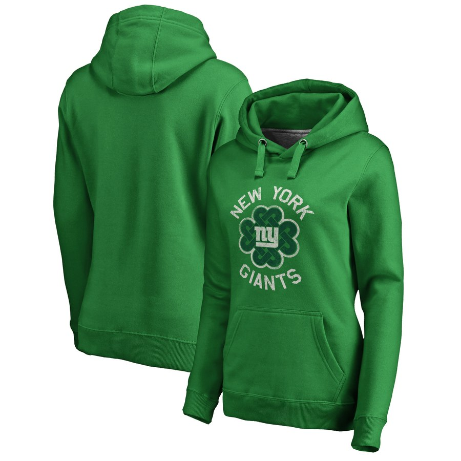 New York Giants NFL Pro Line by Fanatics Branded Women's St. Patrick's Day Luck Tradition Pullover Hoodie Kelly Green