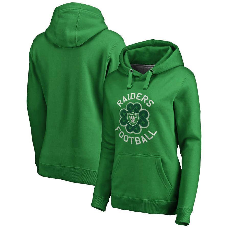 Oakland Raiders NFL Pro Line by Fanatics Branded Women's St. Patrick's Day Luck Tradition Pullover Hoodie Kelly Green