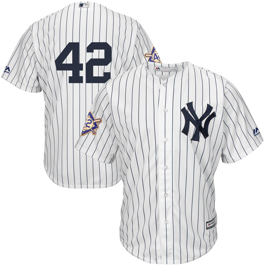 Yankees 42 Mariano Rivera White 2019 Jackie Robinson Day Cool Base Jersey