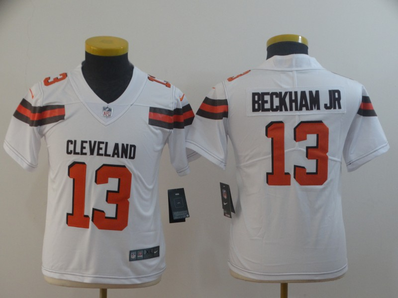 Nike Browns 13 Odell Beckham Jr White Youth Vapor Untouchable Limited Jersey