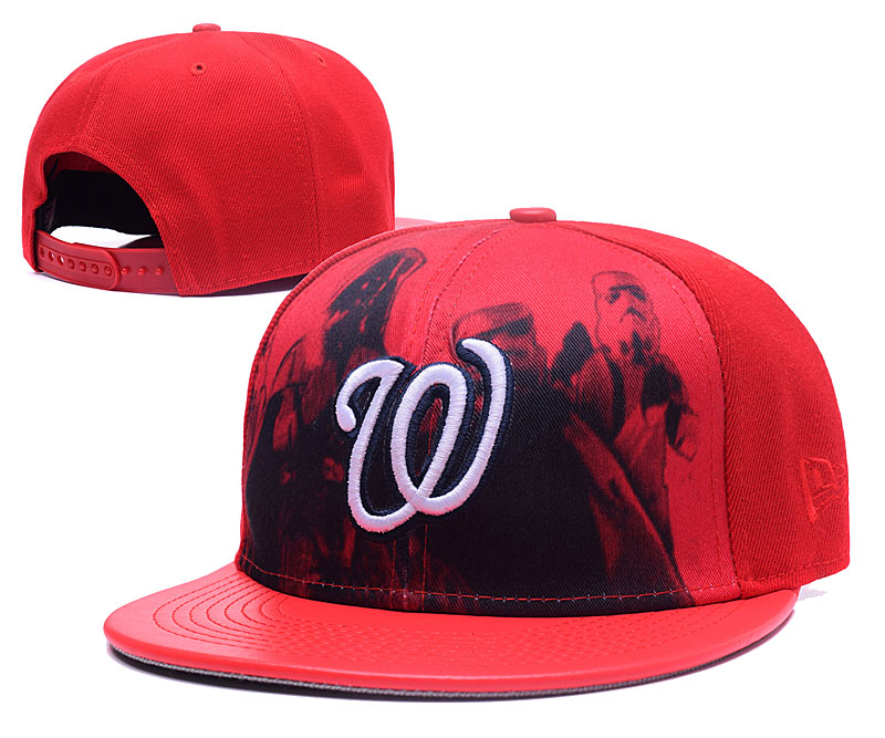 Nationals Team White Logo Red Adjustable Hat GS