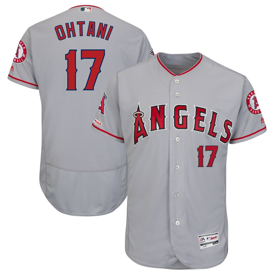 Angels 17 Shohei Ohtani Gray 150th Patch Flexbase Jersey