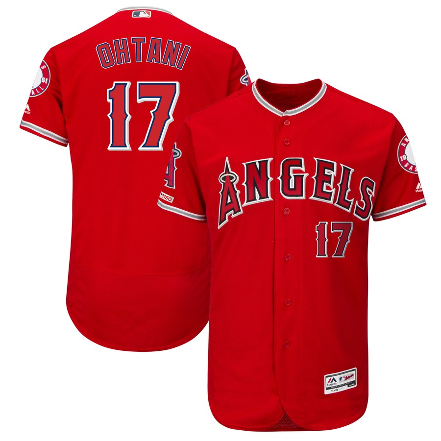 Angels 17 Shohei Ohtani Scarlet 150th Patch Flexbase Jersey