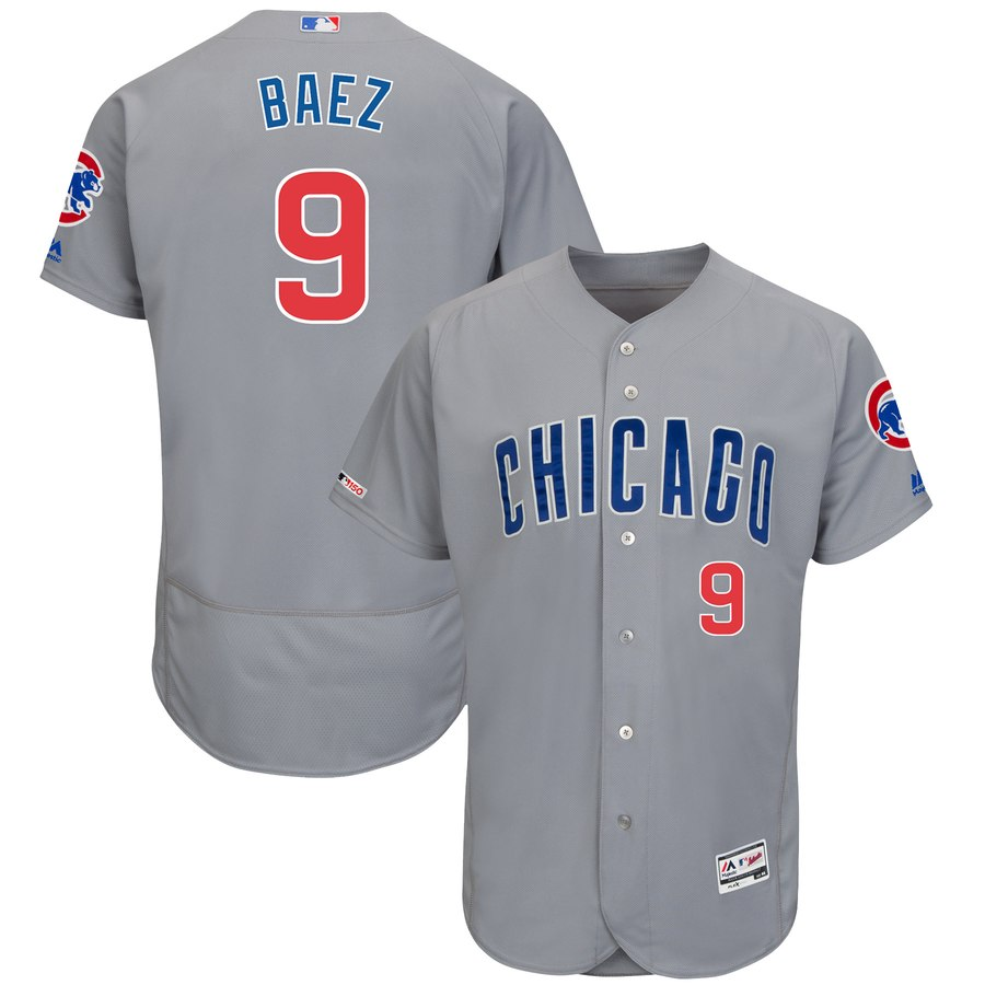 Cubs 9 Javier Baez Gray 150th Patch Flexbase Jersey
