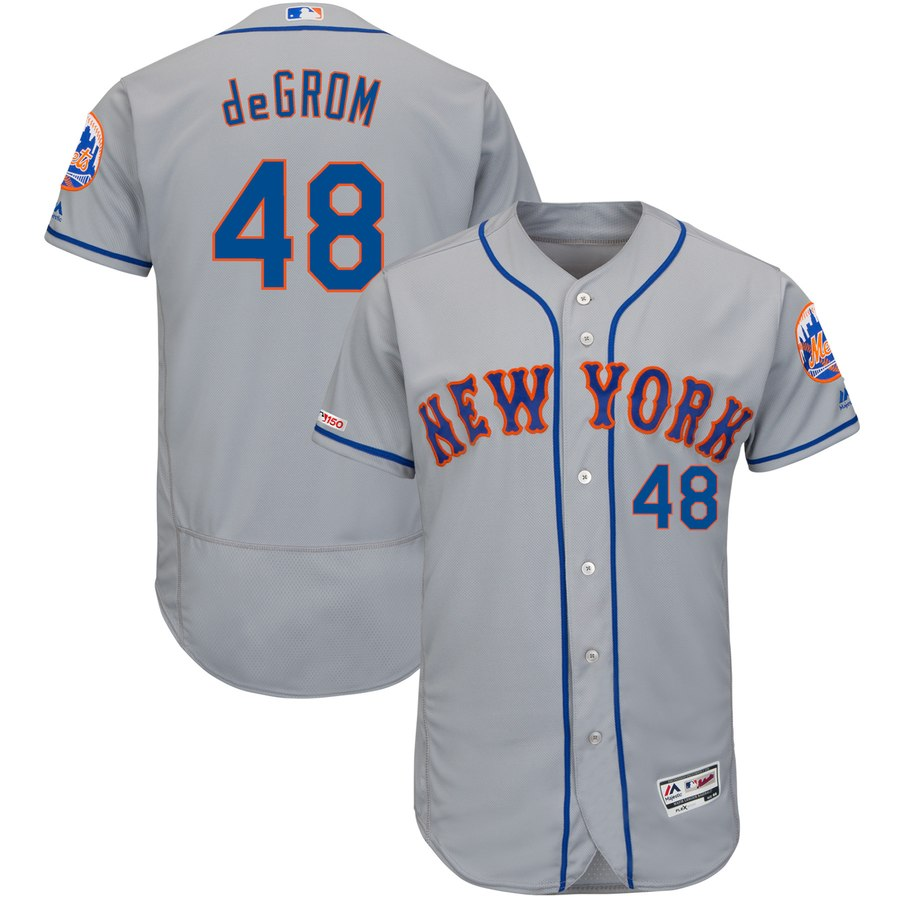 Mets 48 Jacob deGrom Gray 150th Patch Flexbase Jersey
