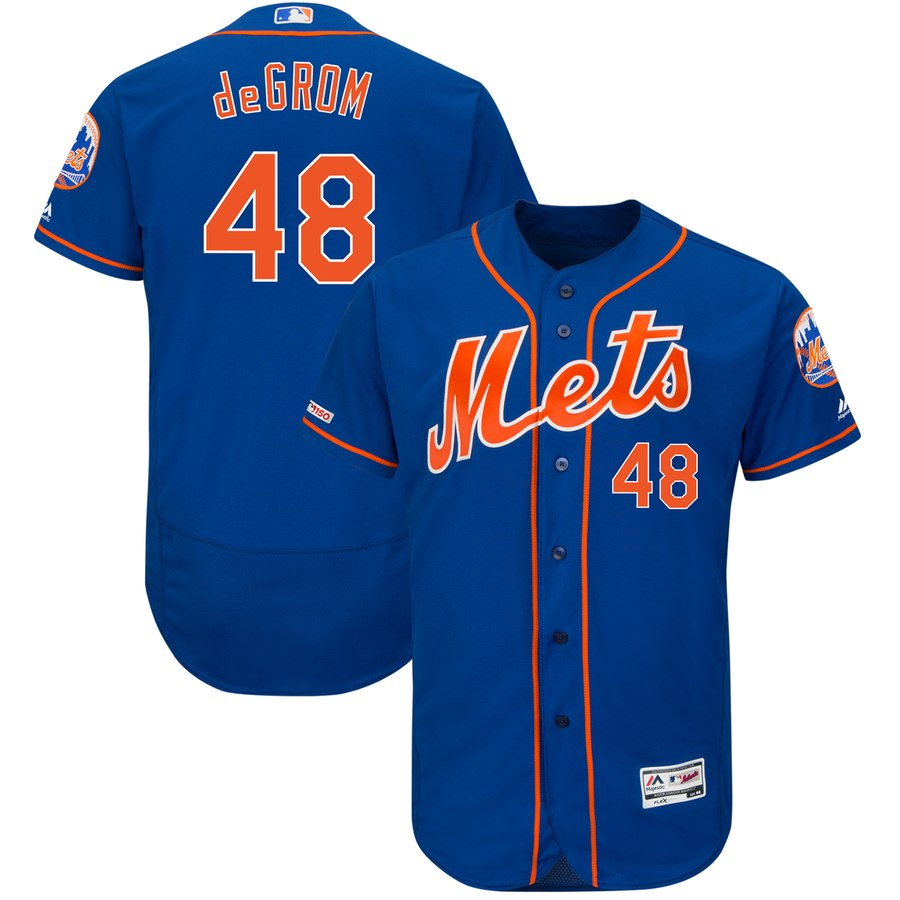 Mets 48 Jacob deGrom Royal 150th Patch Flexbase Jersey