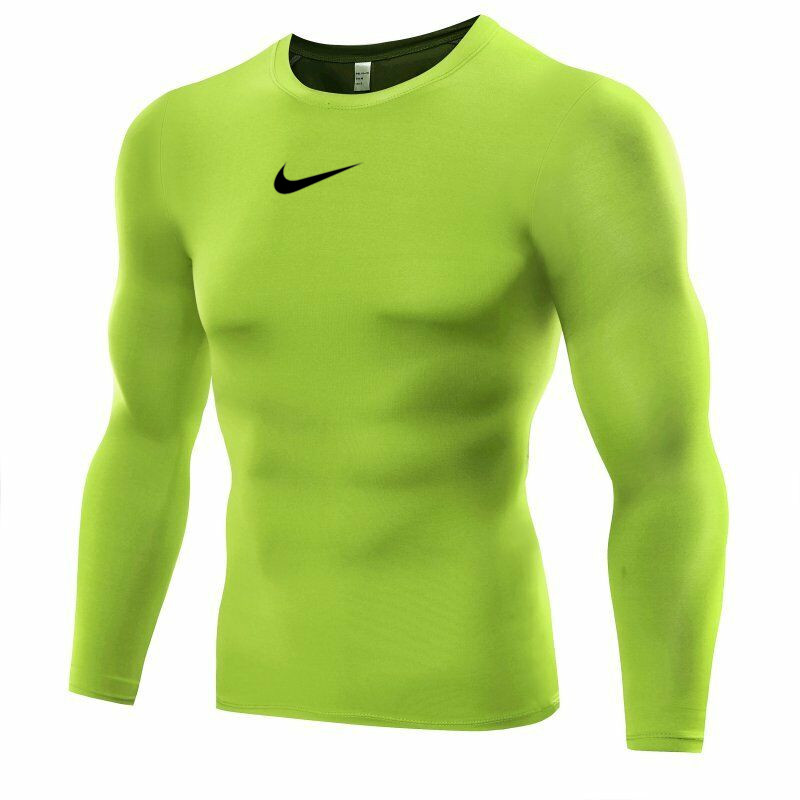Men's Compression Base layer Body Armour Thermal Under Skin T-Shirt Green