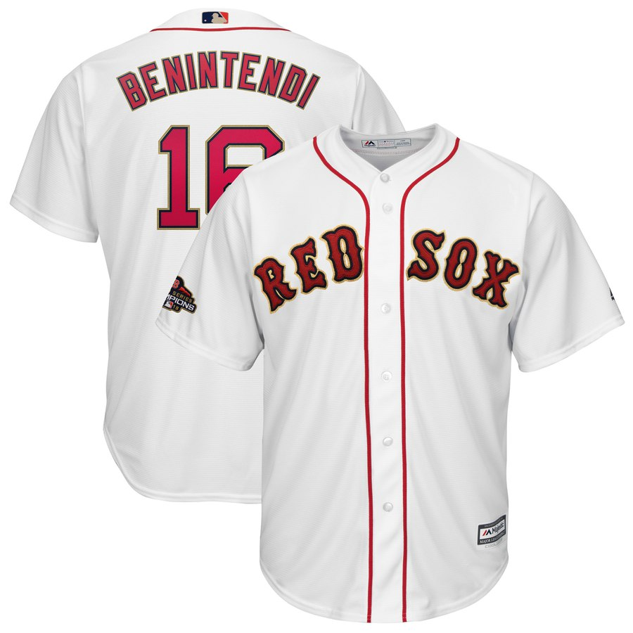 Red Sox 16 Andrew Benintendi White Youth 2019 Gold Program Cool Base Jersey