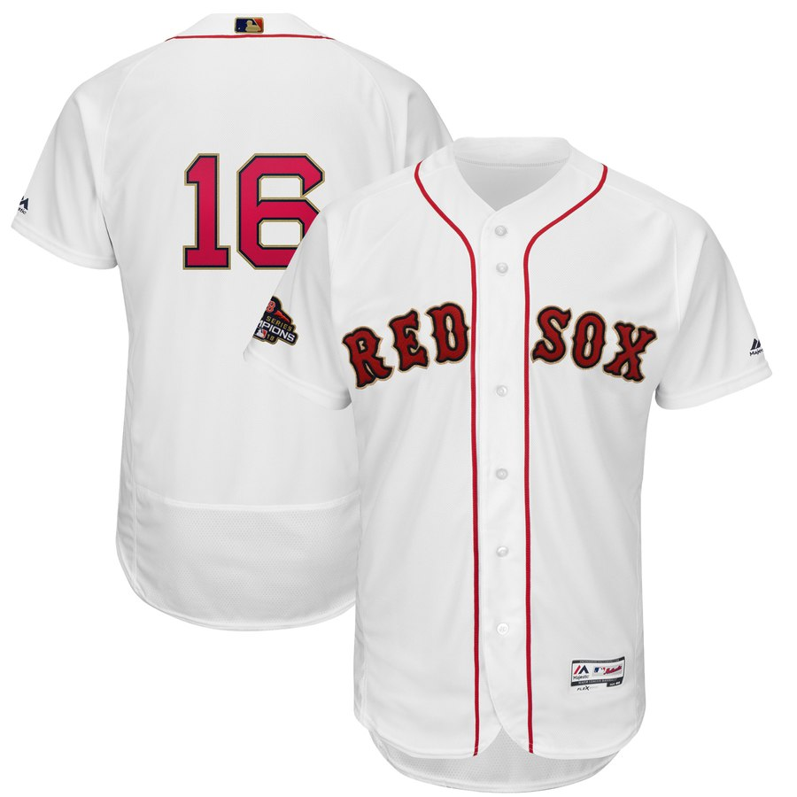 Red Sox 16 Andrew Benintendi White Youth 2019 Gold Program FlexBase Jersey
