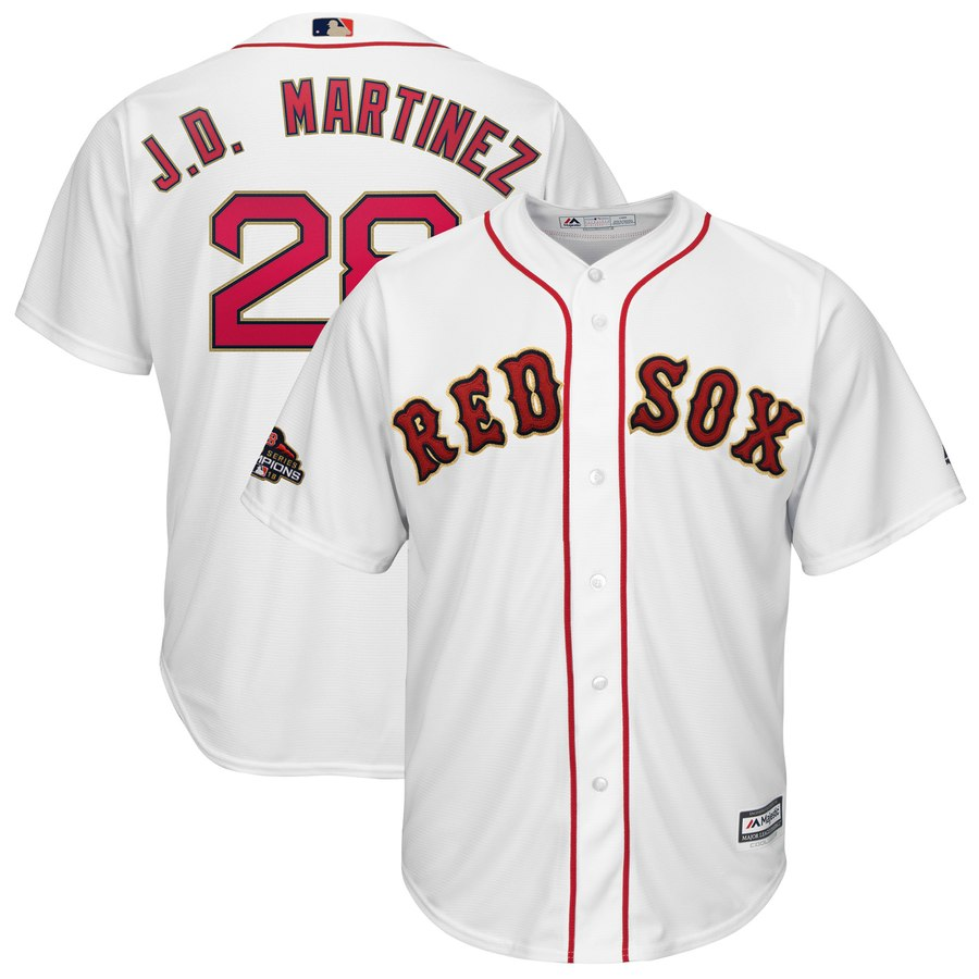 Red Sox 28 J.D. Martinez White Youth 2019 Gold Program Cool Base Jersey