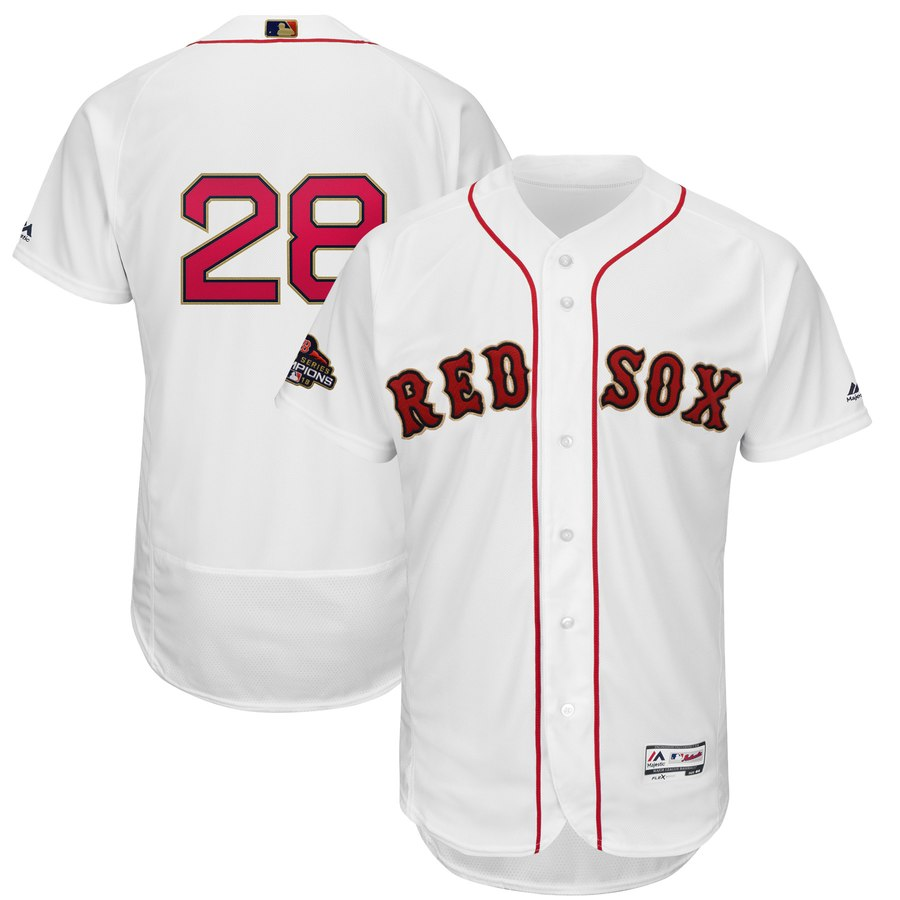 Red Sox 28 J.D. Martinez White Youth 2019 Gold Program FlexBase Jersey