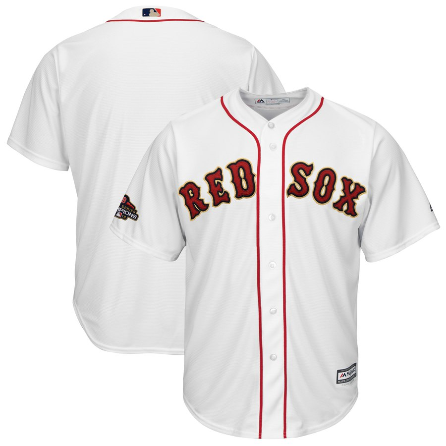 Red Sox Blank White Youth 2019 Gold Program Cool Base Jersey