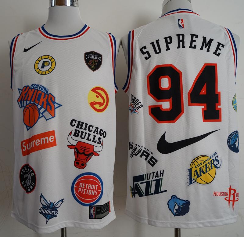 Supreme x Nike x NBA Logos White Stitched Basketball Jersey