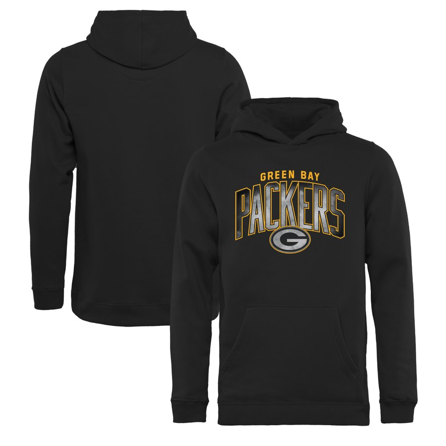 Green Bay Packers NFL Pro Line by Fanatics Branded Youth Arch Smoke Pullover Hoodie Black
