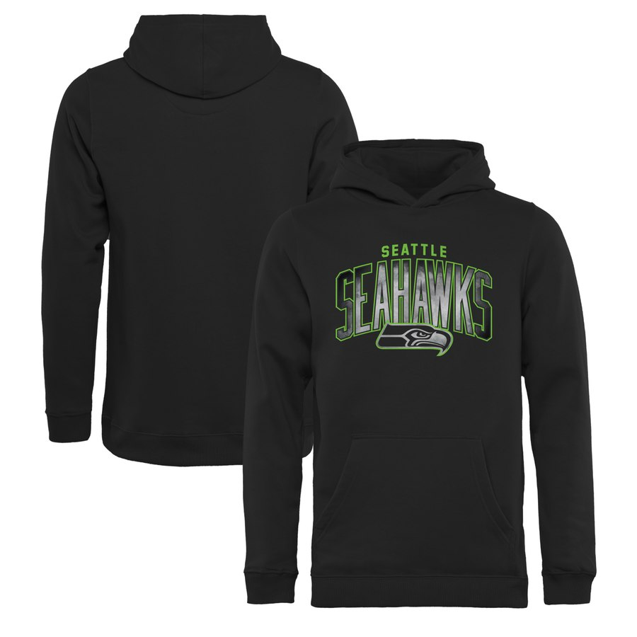 Seattle Seahawks NFL Pro Line by Fanatics Branded Youth Arch Smoke Pullover Hoodie Black