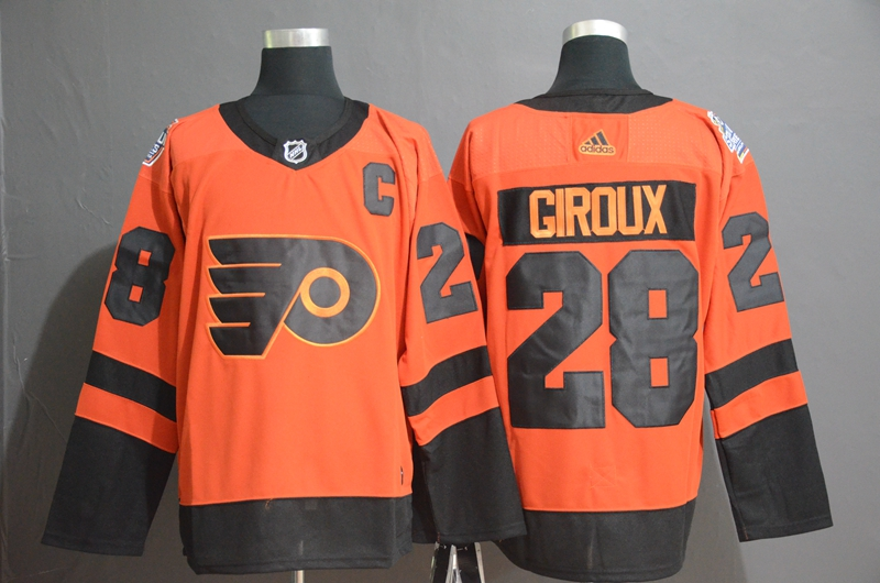 Flyers 28 Claude Giroux Orange 2019 NHL Stadium Series Adidas Jersey