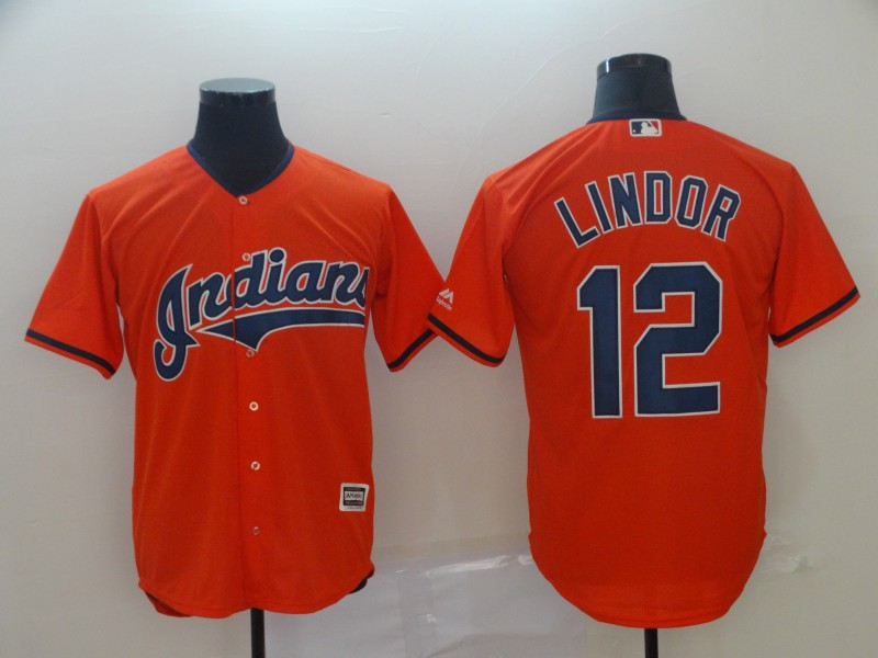 Indians 12 Francisco Lindor Orange Cool Base Jersey